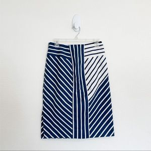 J Crew Blue White Striped Pencil Skirt Size 4